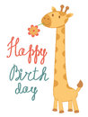 Happy Birthday card with giraffe Stock Image