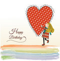 Happy birthday card with a girl Royalty Free Stock Photo
