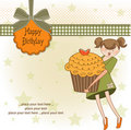 Happy Birthday card with girl and cupcake Stock Image