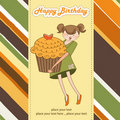 Happy Birthday card with girl and cupcake Royalty Free Stock Images