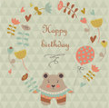 Happy birthday card greeting with cute bear with flower and balloon and floral frame in cartoon style Stock Photography