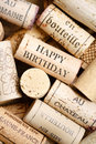 Happy birthday card greeting made from wine corks with text Stock Photo