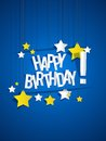 Happy birthday card with hanging stars illustration Royalty Free Stock Photos