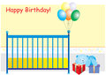 Happy birthday card a illustration of a with teddy bear and presents Royalty Free Stock Image