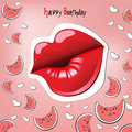 Happy Birthday Card kiss Royalty Free Stock Photo