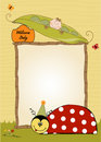 Happy birthday card with ladybug Stock Photos