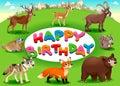 Happy Birthday card with mountain animals Royalty Free Stock Photo