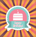 Happy birthday card over lines background vector illustration Stock Images