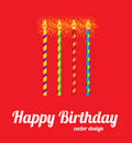 Happy birthday card over red background vector illustration Royalty Free Stock Photo