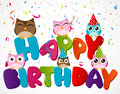 Happy birthday card with owl Royalty Free Stock Photo