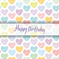 Happy Birthday Card. pattern with sketch hearts on a white backg Royalty Free Stock Photo