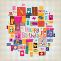 Happy birthday card retro style Stock Image