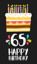 Happy Birthday card 65 sixty five year cake Royalty Free Stock Photo