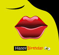 Happy birthday card smile kiss Royalty Free Stock Photo