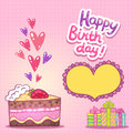 Happy Birthday card with strawberry cake Royalty Free Stock Photo