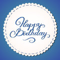 Happy birthday card stylized embroidered lettering Stock Photography
