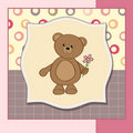 Happy birthday card with teddy bear and flower Royalty Free Stock Image