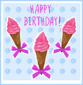 Happy birthday. Card template with hand-sketched ice cream cone. Pink cream. Light blue background. Royalty Free Stock Photo