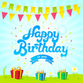 Happy birthday card. Vector banner with blue background, green grass, flowers, birthday flags and presents.