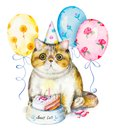 Happy Birthday card with xotic cat in cap, bowl with cake, candies and flying balloons