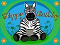 Happy birthday card of zebra for kids in infant mode and in vector