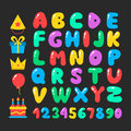 Happy birthday cartoon alphabet set. Air balloons font. Birthday icon set. Flat vector elements Royalty Free Stock Photo