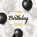 Happy Birthday celebration design with realistic Black and white balloons Royalty Free Stock Photo
