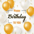 Happy Birthday celebration design with realistic golden and white balloons Royalty Free Stock Photo