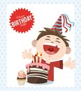 Happy birthday celebration party cheerful boy with cake and cupcake Royalty Free Stock Photo
