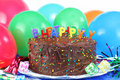Happy Birthday Chocolate Cake and Balloons Royalty Free Stock Photo