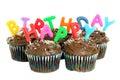 Happy Birthday Chocolate Cupcakes on White