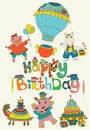 Happy birthday colorful background with funny animals text cake and hot air balloon Royalty Free Stock Photo