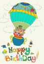 Happy birthday colorful background with funny hippopotamus text cake and hot air balloon Stock Photos