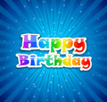Happy birthday colorful congratulation card with background beams and stars Royalty Free Stock Photos