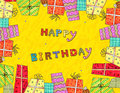 Happy birthday a colorful greeting card Stock Images