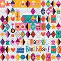 Happy birthday colorful retro design Royalty Free Stock Photos
