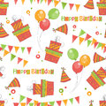 Happy birthday colorful seamless pattern Royalty Free Stock Photography
