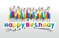 Happy Birthday coloured card on gradient backgroun