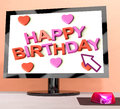 Happy Birthday On Computer Screen Royalty Free Stock Photo