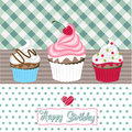 Happy birthday cupcakes card Royalty Free Stock Images