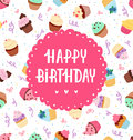 Happy birthday cupcakes greeting card Royalty Free Stock Image