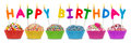 Happy birthday cupcakes row of with lettering Royalty Free Stock Images