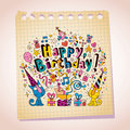 Happy birthday cute kittens note paper cartoon sketch design with Royalty Free Stock Photos