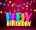 Happy birthday 3d vector text with colorful streamers for party