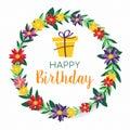 Happy Birthday spring flower wreath greeting card