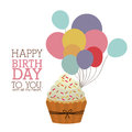 Happy birthday design over white backgrund vector illustration Stock Image