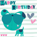 Happy birthday dog animal vector illustration