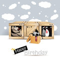 Happy birthday dog birds gift card smile Stock Images