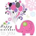 Happy birthday elephant illustration Stock Photo