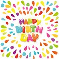 Happy birthday festive banner. Cartoon letters and colorful paint splashes. Royalty Free Stock Photo